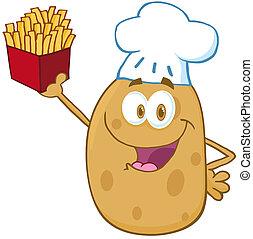 chef cuistot, heureux, pomme terre