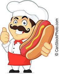 chef cuistot, hot-dog, tenue