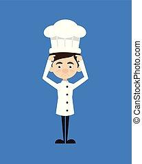 chef cuistot, -, inquiété, dessin animé