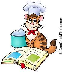 chef cuistot, livre, recette, dessin animé, chat