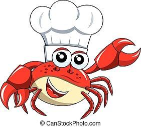 chef cuistot, mascotte, isolé, crabe, présentation