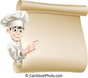 chef cuistot, menu, dessin animé
