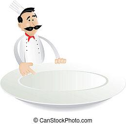 chef cuistot, menu, tenue, plat