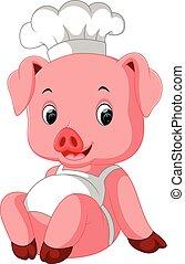 chef cuistot, mignon, cochon