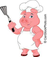 chef cuistot, mignon, dessin animé, cochon