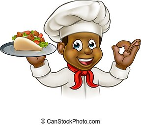 chef cuistot, noir, dessin animé, chiche-kebab