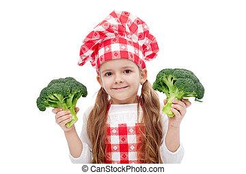chef cuistot, peu, heureux, girl, brocoli