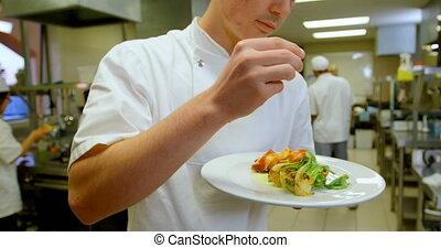 chef cuistot, plat, arrosage, sel, cuisine, 4k