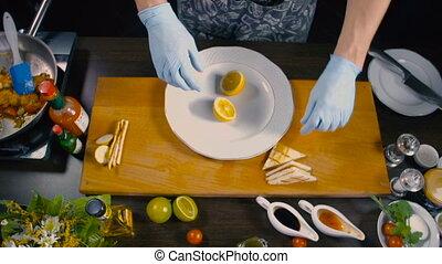 chef cuistot, plat, fini, crevette