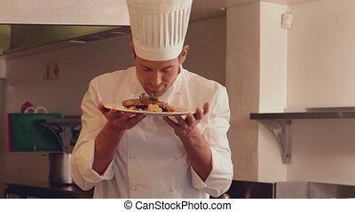 chef cuistot, plat, sentir