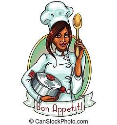 chef cuistot, pot, spoon., joli