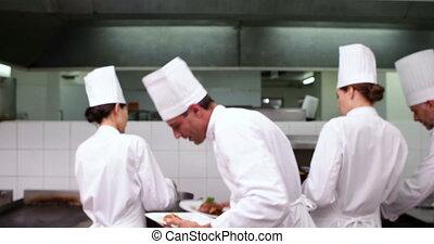 chef cuistot, projection, deux, ca, plats, heureux