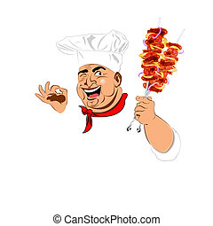 chef cuistot, rigolote, chaud, délicieux, brochette