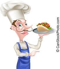 chef cuistot, shawarma, dessin animé, chiche-kebab