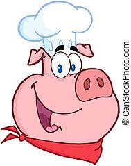 chef cuistot, tête, heureux, cochon