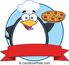 chef cuistot, tarte pizza, tenue, manchots