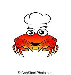chef cuistot, vecteur, caractère, crabe, illustration