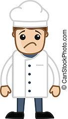 chef cuistot, vecteur, dessin animé, triste