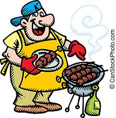 chef cuistot, viande grillée