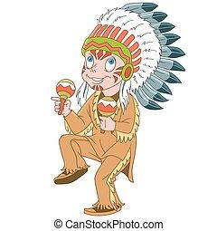chef, indien, amérindien, dessin animé