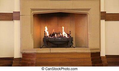 cheminée, brun, flamme, salle, milieu