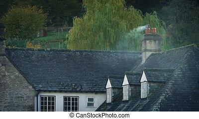 cheminée, campagne, toit, fumer