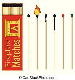 cheminée, degrés, rouges, varier, plat, conception, icône, set., bâtons, allumette, long, boîte allumettes, brûlé