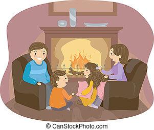 cheminée, famille