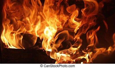 cheminée, flammes