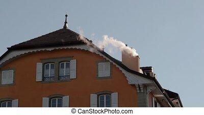 cheminée, fumer, toit