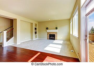 cheminée, salle, maison, vivant, vide, interior.