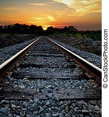 chemin fer, coucher soleil
