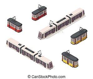 chemin fer, elements., devant, vendange, blanc, back., vecteur, trams., streetcars., icons., rouges, vieux, isométrique, ville, illustration, moderne, jaune