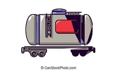 chemin fer, icône, animation, train