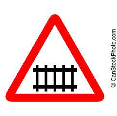 chemin fer, illustration, panneaux signalisations