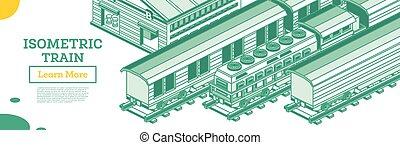 chemin fer, isolé, cargaison, elements., locomotive., white., contour, isométrique, train