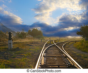 chemin fer, paysage, rails