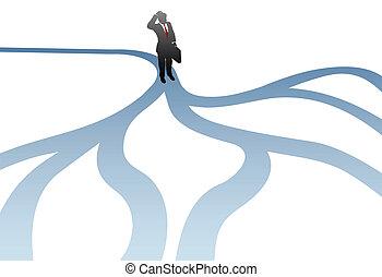 chemins, business, confusion, décision, choisir, homme