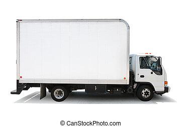 chemins, coupure, isolé, livraison, fond, camion, included., blanc