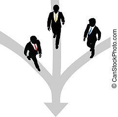 chemins, pour, hommes affaires, ensemble, promenade, 3, une