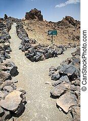 chemins, volcanique, croix
