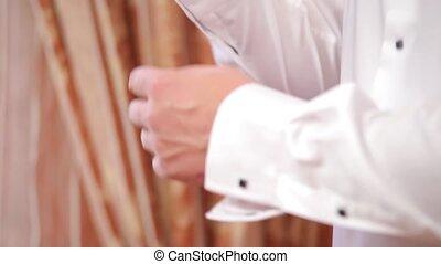 chemise, haut, details., usure, fin, blanc, homme