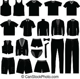 chemise, hommes, tissu, usure, mâle, homme