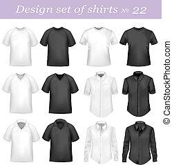 chemises, hommes, polo, noir, blanc