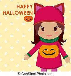 chemisier, mignon, peu, halloween, pumpkin., vecteur, girl, vacances