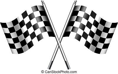 chequered, checkered, drapeaux