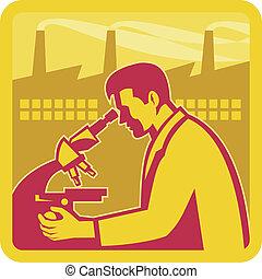 chercheur, bâtiment, scientifique, usine, retro