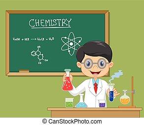 chercheur, -, laboratoire, isolé