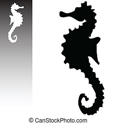 cheval, art, illustration, vecteur, mer, blanc