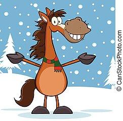 cheval, caractère, dessin animé, mascotte